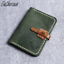 Gathersun Genuine Leather Wallet Men Small Cowhide Leather Credit Card Slim Wallet Vintage Handmade Leather Goods(China)