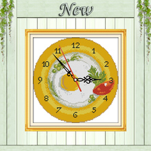 Fruit tray clock face decor paintings counted print on canvas DMC 14CT 11CT chinese Cross Stitch Needlework Sets Embroidery kits