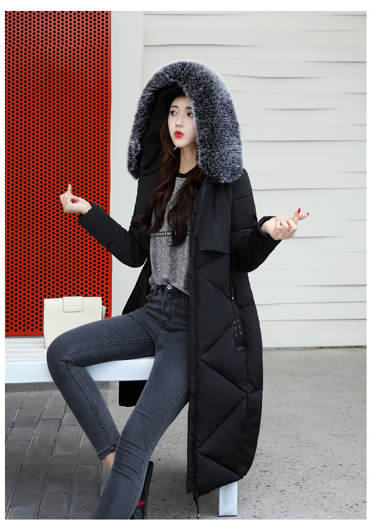 tnlnzhyn 2017 New Winter Women Cotton Jacket Thick Warm Fur Collar Hooded Cotton Down Jacket Coat Slim Outerwear Parka Y597