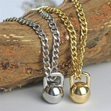 Hot sell Gold Silver Black Color Alloy Mens dumbbell KettleBell Pendant Necklace For Male sports fitness barbell jewelry(China)