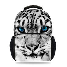 15inch Cool Boys School Backpack 3D Animal Print Snow Leopard Backpack for Girls Teenagers Mochilas Escolares Book Bag(China)
