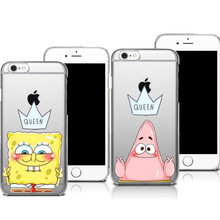 Best Friend Patrick Queen Spongebob Stars Transparent Hard Plastic Cover Case For iphone SE 4S 5 5S 5C 6 6S 6Plus 7 7Plus Cases(China)
