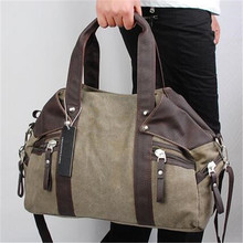 2016 Winer High Density Thicken Canvas& PU Leather Casual Tote Bags High-Capacity School Military Portable Shoulder Bags H741