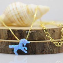Buy  (1pc/lot)OP06 Baby Blue Animal Unicorn Fire Opal 15.1*10.2mm Unicorn Opal Stone Synthetic Opal Necklace gold S925 silver chain for $11.34 in AliExpress store
