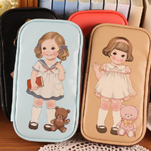 Lovely doll girl printing women wallet students coin purse lady clutch handbag card holder burse Carteria money bag