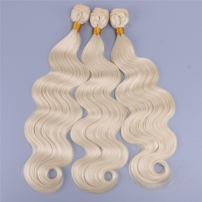 Color 613 body wave 16-24 inches synthetic hair weft fiber weave for women title=