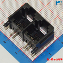 100Pcs 2 in 1 Double Black 6P4C RJ11 Female PCB Mount Telephone Modular Connector Socket Interface For Plug Jack