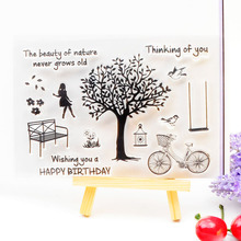 Clear Stamp Scrapbook DIY photo cards rubber stamp seal stamp  Happy Birthday Tree  transparent silicone transparent stamp