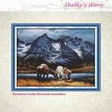 Romances under the snow mountains Painting Counted Cross Stitch DMC DIY Cross Stitch Kits for Embroidery Home Decor Needlework