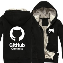 Winter hoodies geek Github padded fleece Linux Merb Ruby programmer octopus cat zipper sweatshirts cotton hoodie sweatshirt(China)