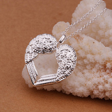2016 Rhinestone Inlaid Peach Heart Angel Wing Shaped Silver color Woman Pendant Necklace Jewelry Accessories(China)