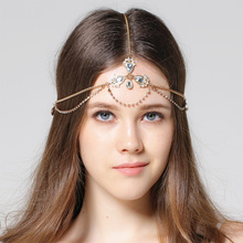 Bohemian Rhinestone headbands bride HairPiece  boho hair jewelry crown Head ornaments beach wedding Bridal headpiece