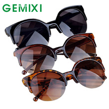 Cool Sunglasses men women oculos feminino UV400  Retro Cat Eye Semi-Rim Super Vintage Style Round Sunglasses