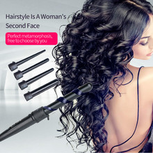 5in1 Hair Wand Curler 09-32mm Removable Cylindrical Conical Curling Iron Hair Curler Electric Curling Wand Hair Styler curler 45