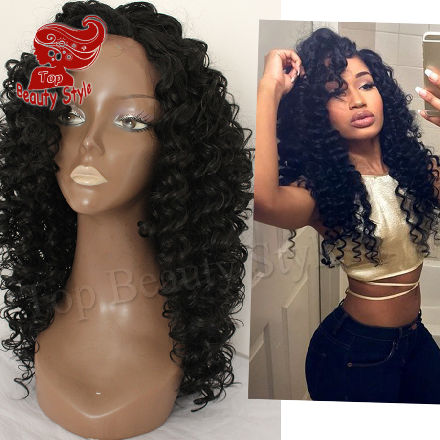 2016 Fast Shipping Black Color Curly Hair Heat Resistant Wig Afro Kinky Curly Hair Synthetic Lace Front Wigs For Women<br><br>Aliexpress
