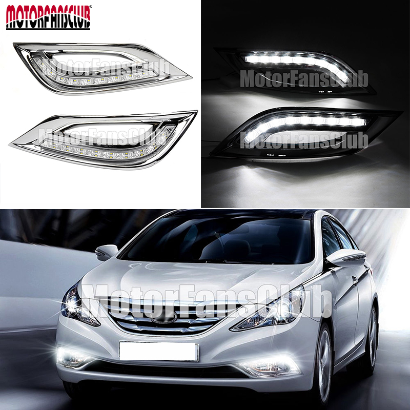 White Color 2X LED DRL Daytime Running Fog Light for Hyundai Sonata I45 YF 2011 2012 2013 2014 DRL Fog Light<br>