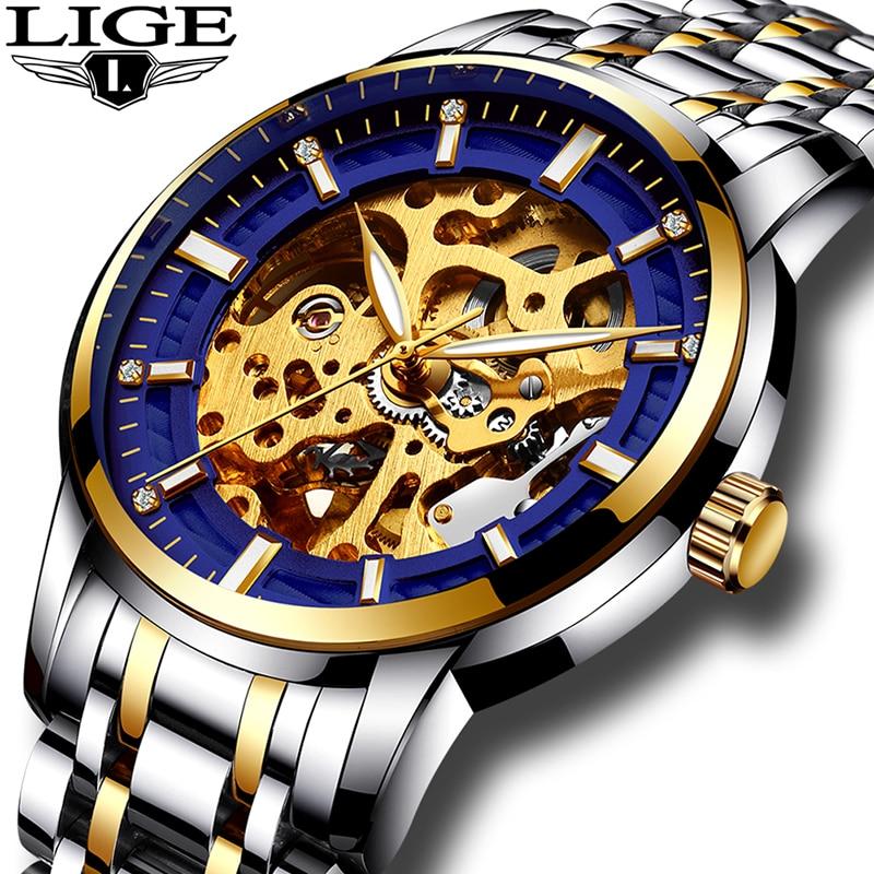 LIGE mens watch top brand luxury business waterproof automatic mechanical watch mens hollow watch relogio masculino<br>