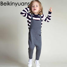 New Baby Boy Clothes Fashion Autumn / Winter Overalls Children Cotton Knitted Suspender Pants Kids Child Clothing Beikinyuans(China)