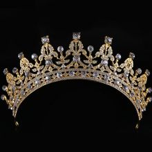 2017 New Fashion Women Gold Hair Tiaras Crowns Bridal Hair Crowns Jewelry Ladies Crystal Wedding Hair accessories Crown(China)