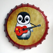 "Tin Sign ""Penguin guitar"" Vintage Metal Painting Beer Cover Cafe Bar Hanging Ornaments Wallpaper Decor Plates Retro Mural(China)"