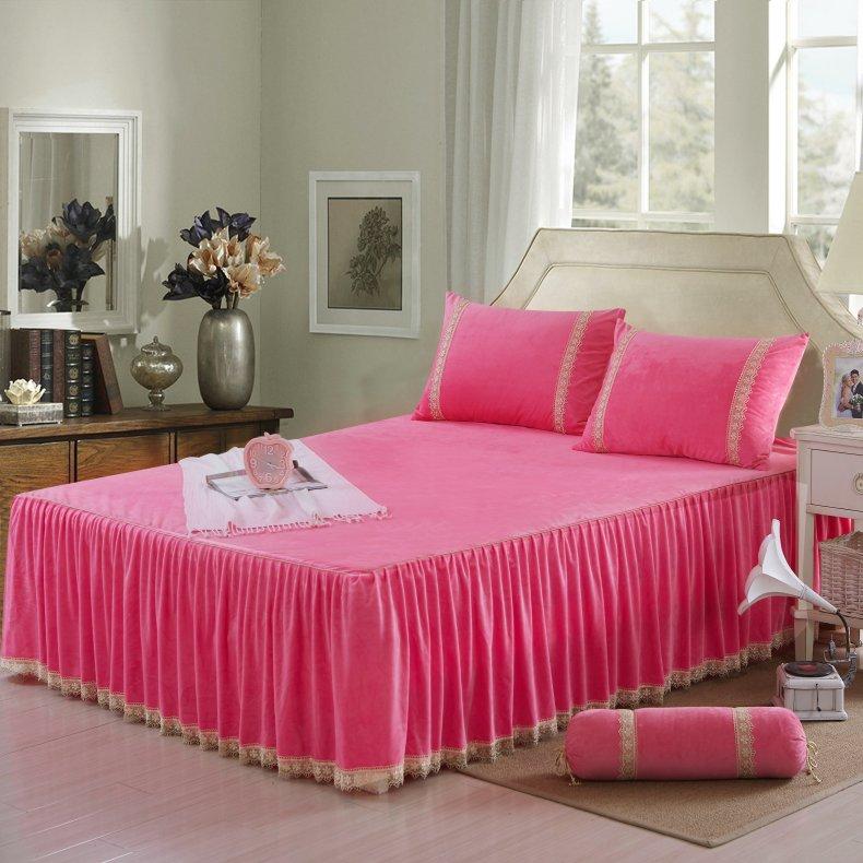 3Pcs Fleece Bed Skirt Set W/ Pillowcases, Mattress Protective Cover 21