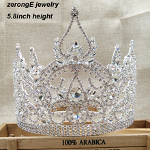 zerongE jewelry gorgeous rhinestone full crown for women miss world universal tall pageant  circle full crown for girls jewelry