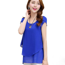 Chiffon Blouse Summer Nice New Fashion Korean Style O-neck Loose Shirt Women Tops Short Sleeve Plus Size Female Clothing LU285(China)