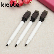 Kicute 3pcs/pack Black Magnetic Whiteboard Pen Erasable Dry White Board Markers with Magnet and Eraser Office School Supplies(China)