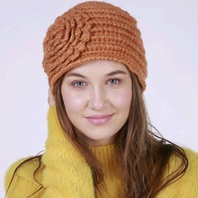 2017 New Winter Beanies Hats for Women Handmade Big Flower Warm Knitted hat Girls chapeau gorro American Popular hat(China)