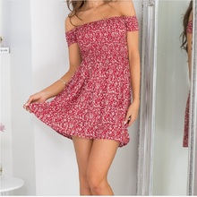 Summer Dress New Fashion Short Sleeve Lace One Piece Sexy Shoulder Beach Mini Women Dress Dress Size Casual Party