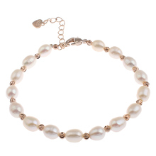 YYW Freshwater Cultured Pearl Bracelet Wedding Jewelry Real White Pearl Bracelets Rose Gold Color Beaded Charm Pearl Bracelets