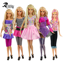 5 Pcs/lot New unique silver Leggings clothes Fashion Jacket and pants set Casual coat dress for Barbie Doll Free shipping(China)