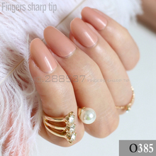 24pcs new product sales long small round Light Brown oval head fake nail fit comfortable DIY nail candy color R26 385