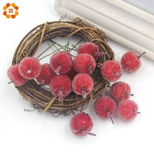 10PCS/Lot 2CM Mini Red Apple Stamen Fake Glass Pomegranate Fruit Small Berries Artificial Flower For Home Wedding Decoration(China)