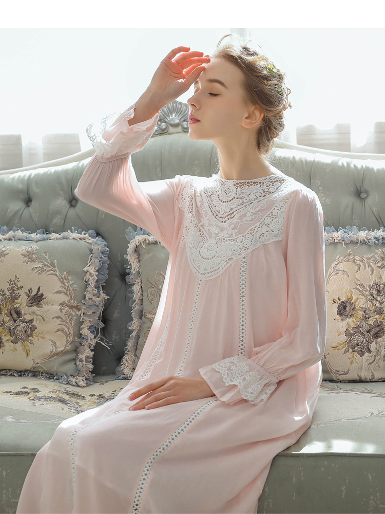 Women Vintage Style Women's Gown Flare Sleeve Pink Cotton Night Dress Long Nightdress Laced Nightshirt Victorian Nightgown 7