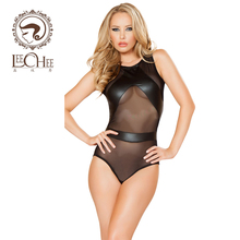Buy Leecheee Women Sexy lingerie PU Leather Latex Fishnet Teddy sexy erotic underwear SM Pole dancing uniform porn costumesQ775