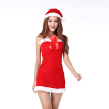 New Hooded Santa Claus Xmas Dress Adult Women Party Dress Bow Sexy Strapless  Uniform Christmas  Halloween Costume Bow