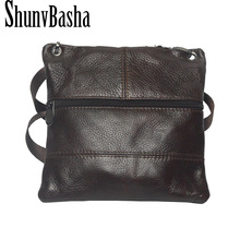 ShunvBasha 2017 cow genuine leather versatile casual shoulder men messenger bags for men leather handbags mini bag brown(China)