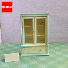 1/12 Scale Dollhouse Furniture Wooden Miniature Bookshelf Display Cabinet Cupboard Dollhouse Accessories for Children