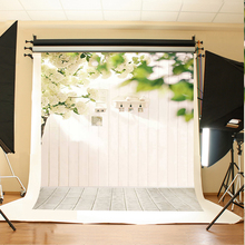 Wedding Background White Flowers Green Leaves Art Background Photo Lamps White Wooden Floor Backdrops for Photographic Studio