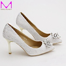 Women Wedding Shoes Pointed Toe White lace rhinestones Bridal Shoes High Heels Elegant Party Shoes Satin Sapatos Femininos