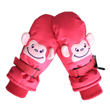 Children Winter Warm Ski Gloves Boys Girls Pink/Black Cartoon Monkey/Bear Animal Waterproof Windproof Skiing Snowboard Mittens(China)