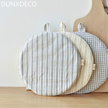 DUNXDECO Table Placemat Round Pot Cover Cotton Mat Modern Fresh Little Stripe Kitchen Desk Accessories Home Decor