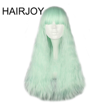 HAIRJOY Women Synthetic 70cm Long Kinky Curly Hair Light Purple Green Blue Red 4 Colors Available Cosplay Wig Free Shipping(China)