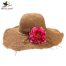 2016 Fashion Women Wide Brim Floppy Straw Hats Foldable Cute Flower Anti-UV Summer Beach Sun hat chapeau de paille
