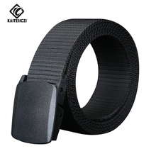 [KAITESICZI] 2017 new high quality brand canvas belt plastic belt buckle belt men's casual canvas military belt movement(China)