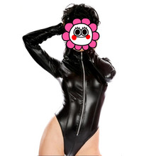 Buy Abbille Hot Sexy Women PVC Leotard Erotic Wetlook Faxu Leather Latex Vinyl Pole Dance Fetish Jumpsuit 2017 Nightclub Catsuit