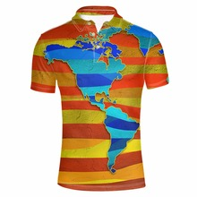 FORUDESIGNS Men's World Map Printed Tommy Polo Shirt Male Summer Short Sleeve Party Colorful Tee Stylish Loose Fit Tops S-XXXL
