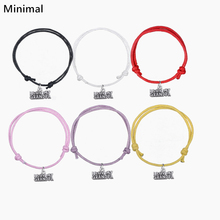 Minimal Adjustable Message Pendant Bracelets Korean Wax Cord Wrap Bracelet Wording I Luv My Grandpa 5pcs/lot Best Gifts Colorful(China)