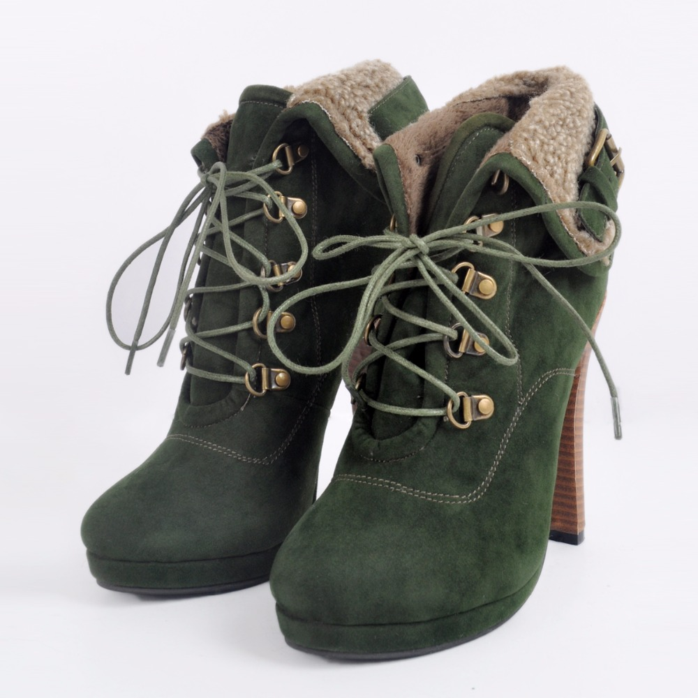 fashion Ankle boots women winter 2017 Green high heels Plush material Warm shoes Round Toe Lace-Up Nubuck Leather Buckles design<br><br>Aliexpress